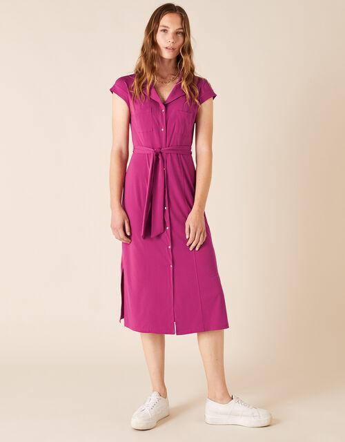 Brianna Jersey Midi Dress, Pink (PINK), large