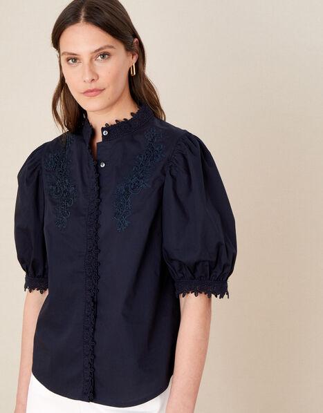 Victoriana Lace Trim Blouse Blue, Blue (NAVY), large