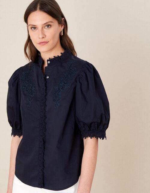 Victoriana Lace Trim Blouse, Blue (NAVY), large