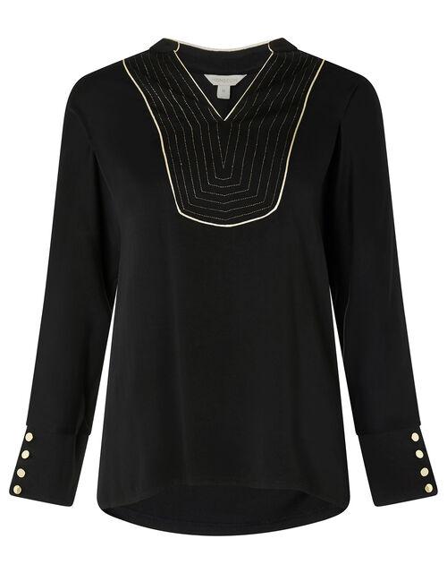 Metallic Bib Long Sleeve Top with LENZING™ ECOVERO™, Black (BLACK), large