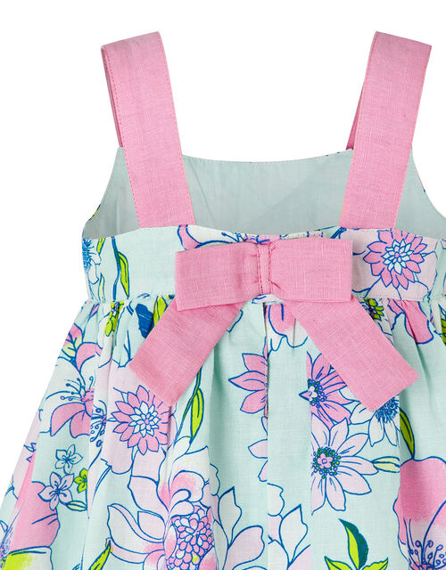 Baby Octavia Floral Dress in Linen and Organic Cotton, Green (MINT), large