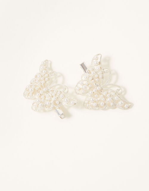 Pearly Butterfly Hair Clips, , large