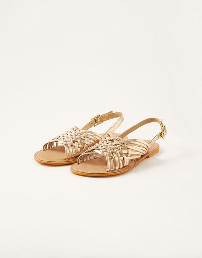 Metallic Weave Leather Sandals Gold, Gold (GOLD), large