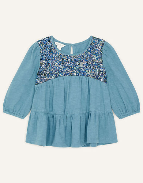 Sequin Panel Tiered Top Teal, Teal (TEAL), large