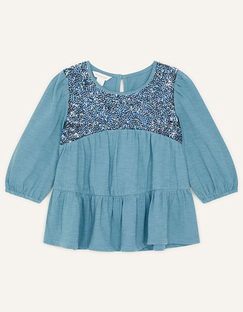 Sequin Panel Tiered Top, Teal (TEAL), large