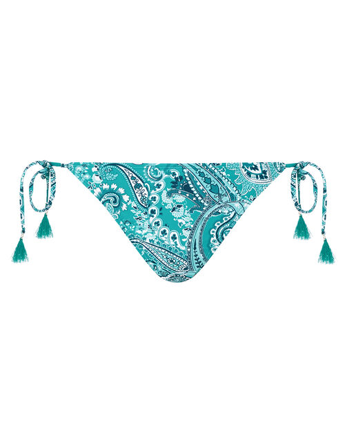 Paisley Bikini Briefs with Recycled Polyester, Blue (TURQUOISE), large