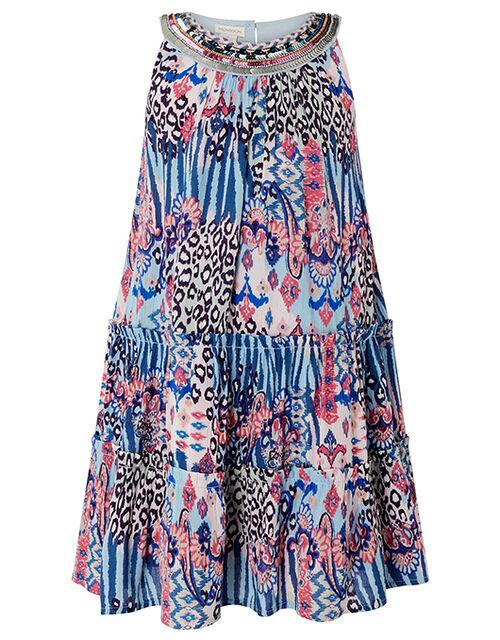 Mercy Clash Print Dress in LENZING™ ECOVERO™, Blue (BLUE), large