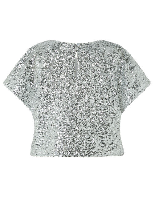 Dawn Sequin Flutter Sleeve Top, Silver (SILVER), large
