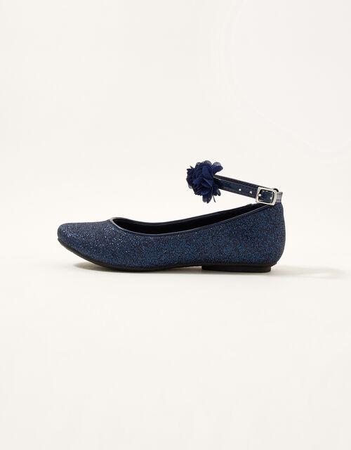 Glitter Corsage Ballerina Flats , Blue (NAVY), large
