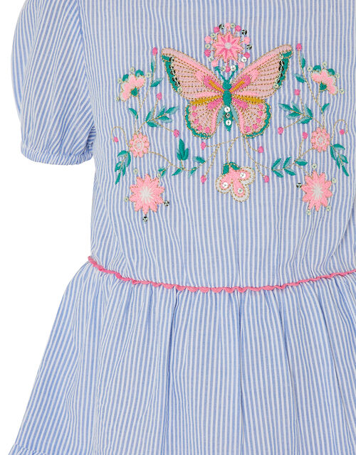Butterfly Stripe Tunic and Leggings Set, Blue (BLUE), large