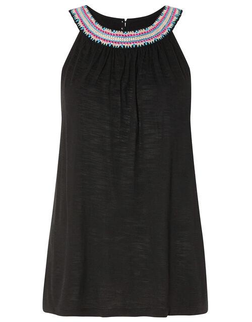 Embroidered Neckline Jersey Top, Black (BLACK), large