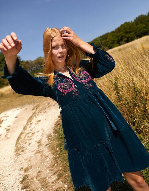 Embroidered Velvet Midi Dress, Teal (TEAL), large