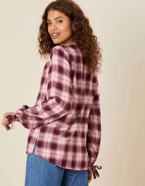 Check Button-Through Top, Red (BERRY), large