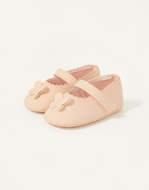 Shimmer Butterfly Booties, Pink (PINK), large