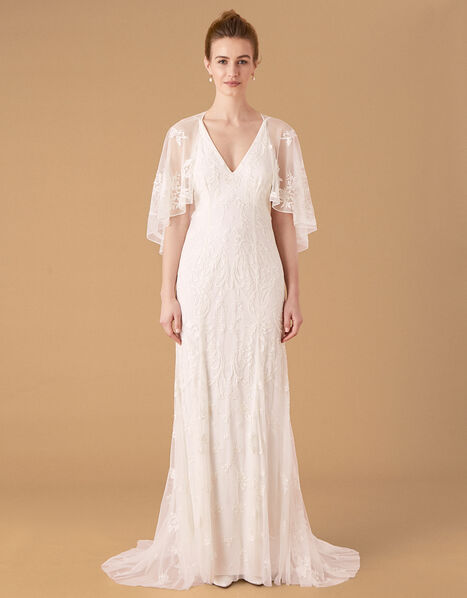 Christabel Cape Embroidered Bridal Dress Ivory, Ivory (IVORY), large