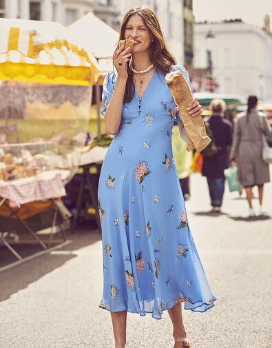 Anastasia Floral Midi Dress Blue, Blue (BLUE), large