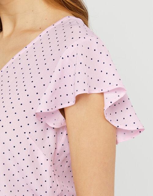 Nessa Spot Print Short Sleeve Blouse, Pink (BLUSH), large