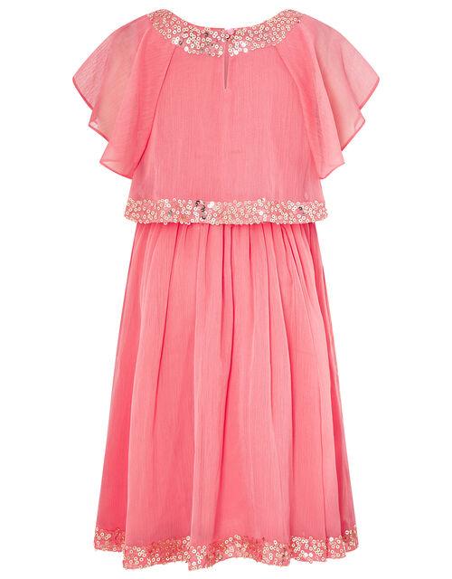 Meghan Sequin Party Dress, Orange (CORAL), large