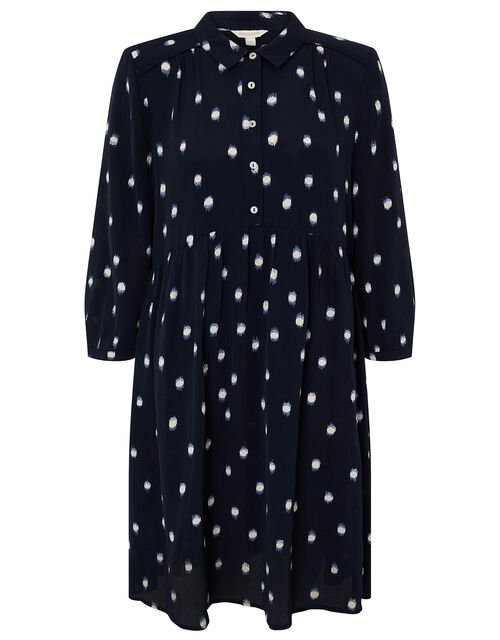 Spot Print Short Dress in Sustainable Viscose, Blue (NAVY), large