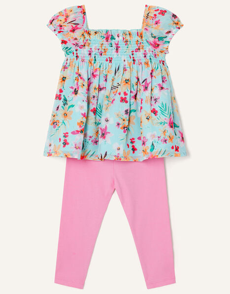 Baby Floral Top and Leggings Set  Blue, Blue (AQUA), large
