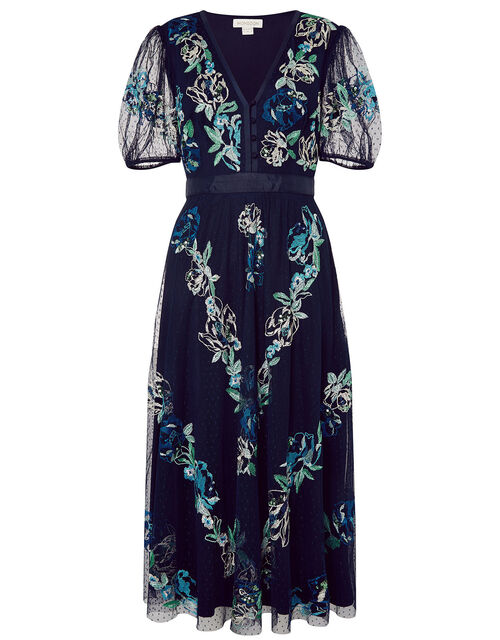 Oma Embroidered Midi Dress, Blue (NAVY), large