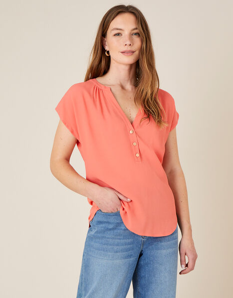 Waverly Button Detail Top  Orange, Orange (CORAL), large