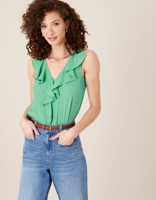 Ruffle Short Sleeve Blouse, Green (GREEN), large