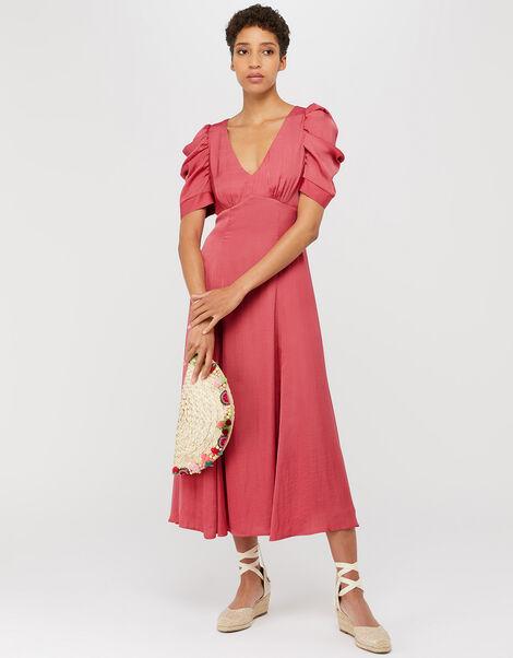 Amelia Satin Midi Dress Pink, Pink (PINK), large