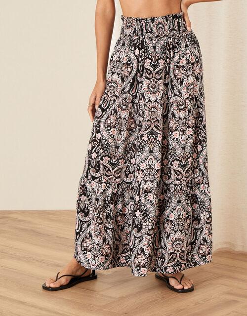 Evissia Printed Skirt, Black (BLACK), large