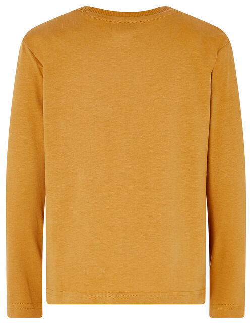 Dinosaur Long-Sleeve T-shirt, Yellow (MUSTARD), large