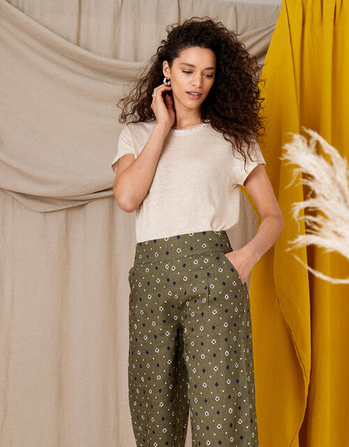 Marnie Printed Culottes in Pure Linen, Green (KHAKI), large