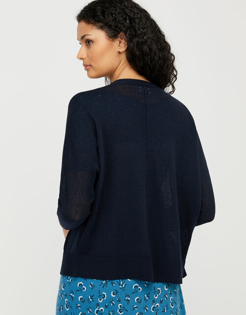 Ellie Lightweight Knitted Cardigan in Linen Blend, Blue (NAVY), large