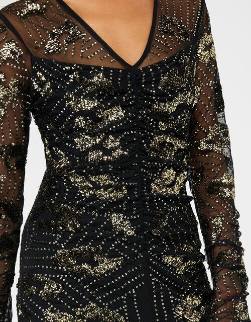 Alyssa Animal Sequin Midi Dress, Black (BLACK), large