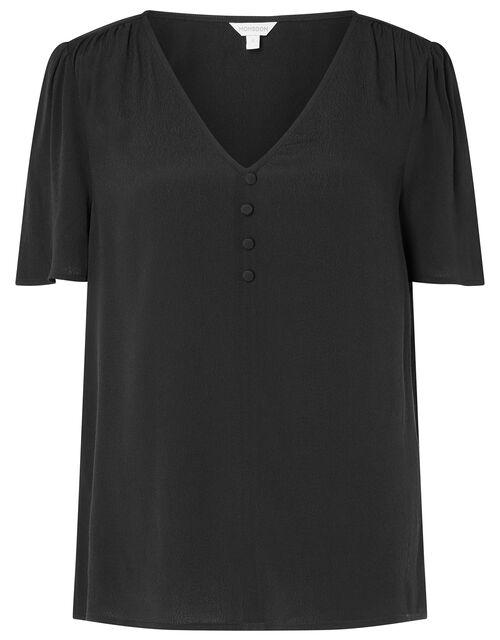 Button Front V-Neck Top, Black (BLACK), large