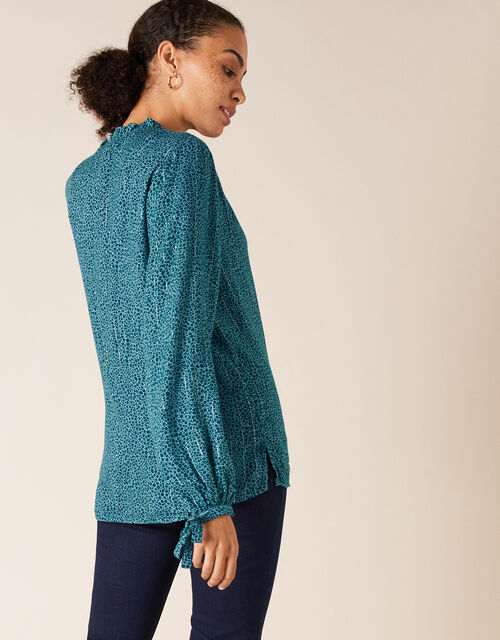 Spot Print Blouse in LENZING™ ECOVERO™, Teal (TEAL), large