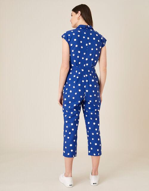 Spot Print Jumpsuit in Linen Blend , Blue (NAVY), large