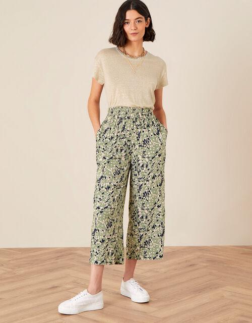 Printed Culottes in LENZING™ ECOVERO™, Green (KHAKI), large