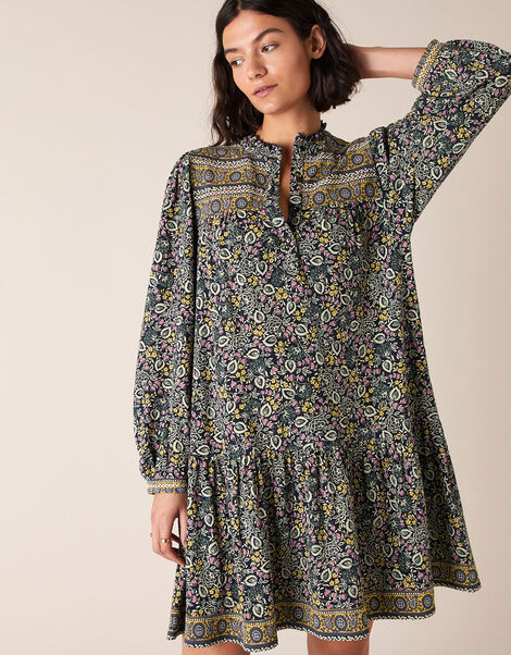 Chrissie Printed Dress with Organic Cotton Blue, Blue (NAVY), large