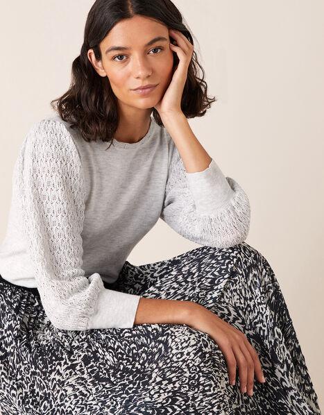 Pointelle Puff Sleeve Knit Jumper Grey, Grey (GREY MARL), large
