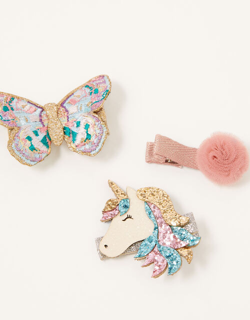 Unicorn, Butterfly and Flower Hair Clips, , large