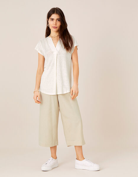 Split T-Shirt in Pure Linen Ivory, Ivory (IVORY), large