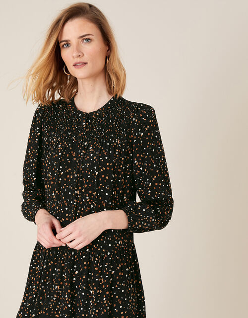 Spot Print Tiered Dress with LENZING™ ECOVERO™, Black (BLACK), large