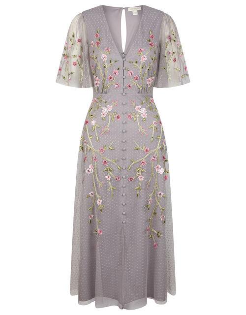 Natalia Floral Embellished Tea Dress, Grey (GREY), large