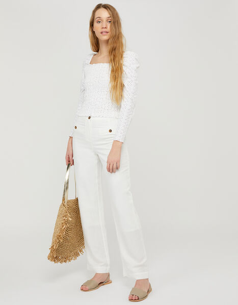 Charlotte Regular-Length Trousers in Linen Blend White, White (WHITE), large