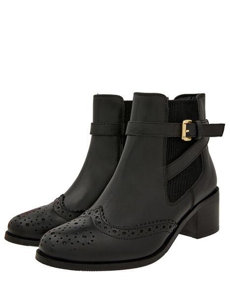 Beryl Brogue Buckle Leather Boots Black, Black (BLACK), large