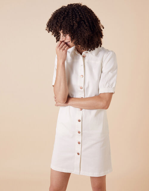 Denim Shirt Dress in Recycled Cotton, Ivory (IVORY), large