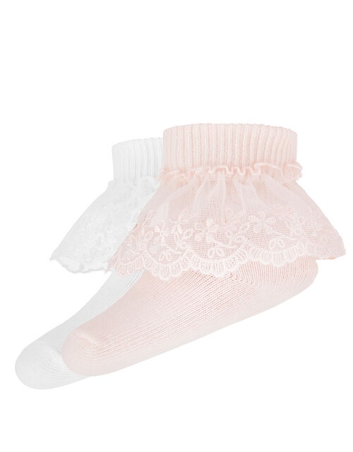 Baby 2 Pack Lace Socks, Pink (PINK), large