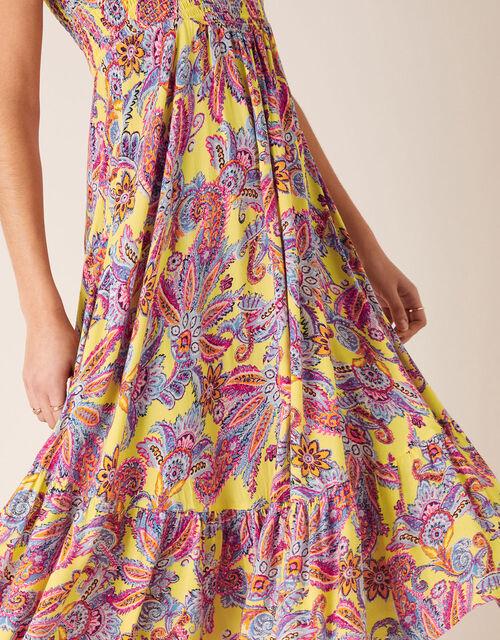 Printed Bandeau Midi Dress, Yellow (YELLOW), large