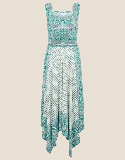 Kemala Printed Hanky Hem Dress, Green (GREEN), large