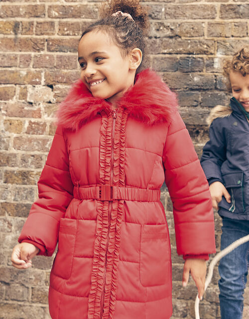 Ruffle Padded and Hooded Coat, Red (RED), large